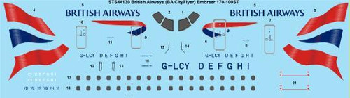 1/144 Scale Decal British Airways (BA Cityflyer) Embraer 170-100ST