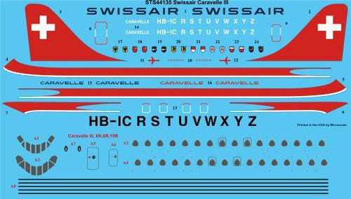 1/144 Scale Decal Swissair Caravelle III