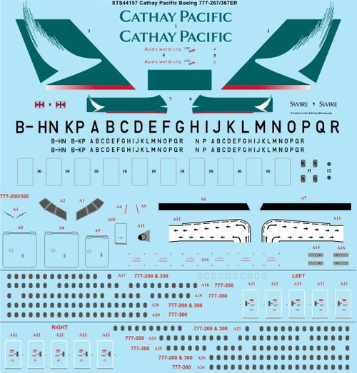 1/144 Scale Decal Cathay Pacific Boeing 777-267/367ER