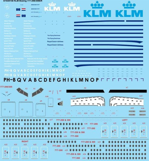 1/144 Scale Decal KLM Boeing 777-206/306ER