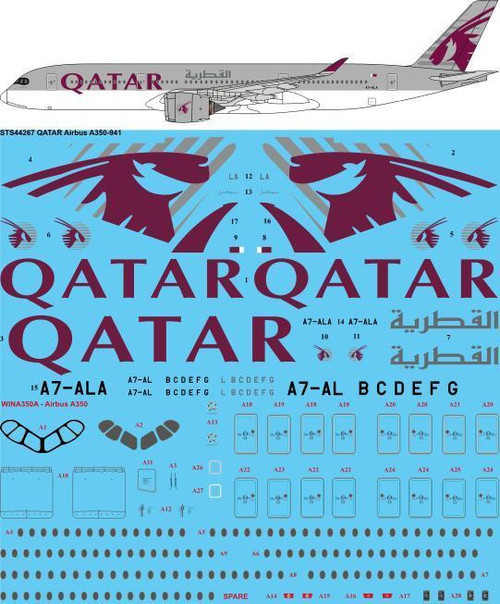 1/144 Scale Decal QATAR Airways Airbus A350-941