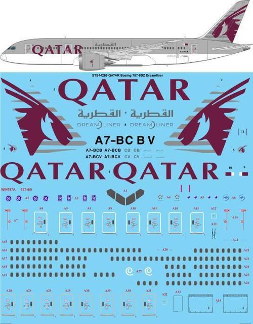 1/144 Scale Decal QATAR Airways Boeing 787-8