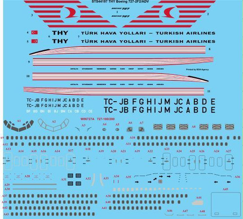 1/144 Scale Decal THY Turkish Airlines Boeing 727-2F2/ADV