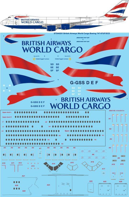 1/144 Scale Decal British Airways World Cargo Boeing 747-87UF/SCD