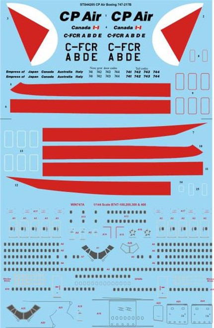 1/144 Scale Decal CP Air Boeing 747-217B