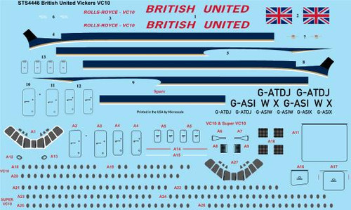 """1/144 Scale Decal British United """"Delivery"""" Vickers VC10"""