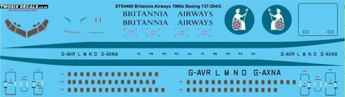 1/144 Scale Decal Britannia Airways 1960s Boeing 737-204/C