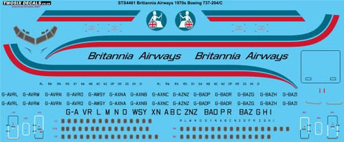 1/144 Scale Decal Britannia Airways 1970a Boeing 737-204/C