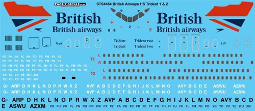 1/144 Scale Decal British Airways HS Trident 1 & 2