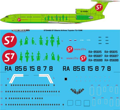 1/144 Scale Decal S7 Siberian Airlines Tupolev TU-154M