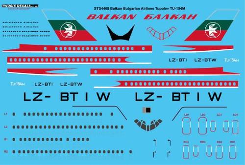 "1/144 Scale Decal Balkan ""Early"" Tupolev TU-154M"