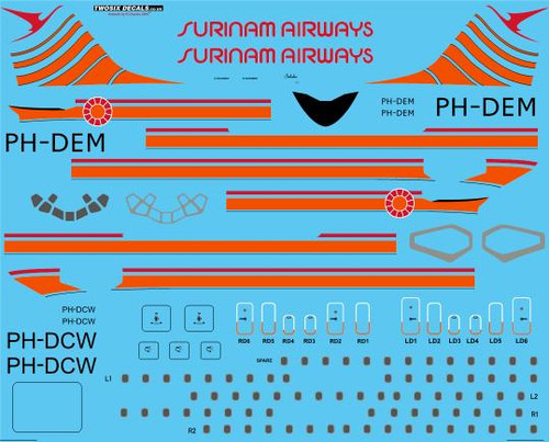 1/144 Scale Decal Surinam Airways Douglas DC-8-55 & 63