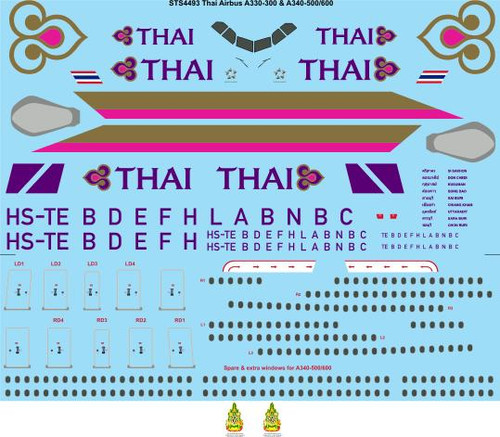 1/144 Scale Decal Thai Airbus A330-300 & A340-500/600