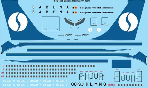 1/144 Scale Decal Sabena Boeing 707-329C