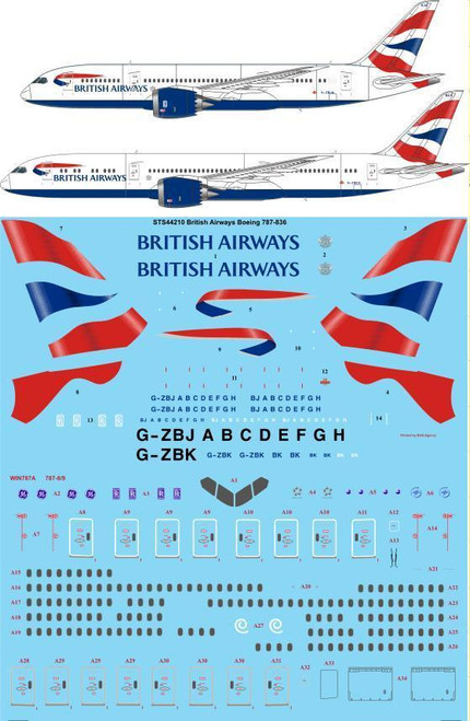 1/144 Scale Decal British Airways Boeing 787-836 / 936