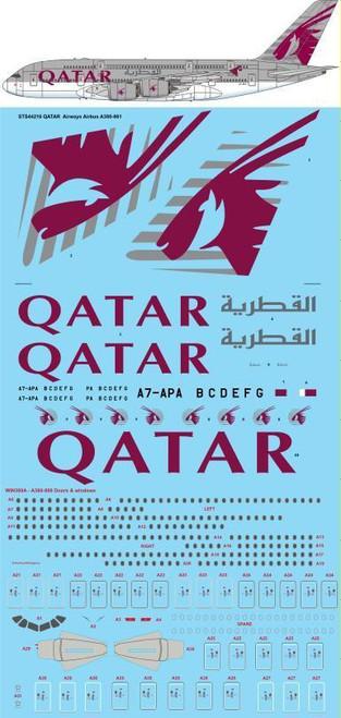 1/144 Scale Decal QATAR Airways Airbus A380-861