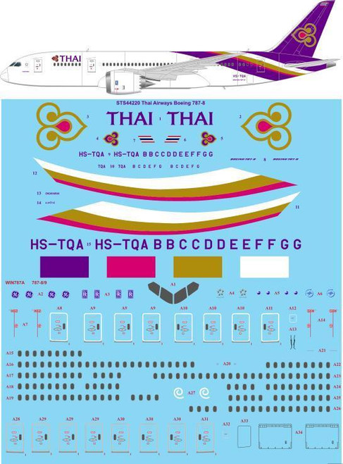 1/144 Scale Decal Thai Airways Boeing 787-8