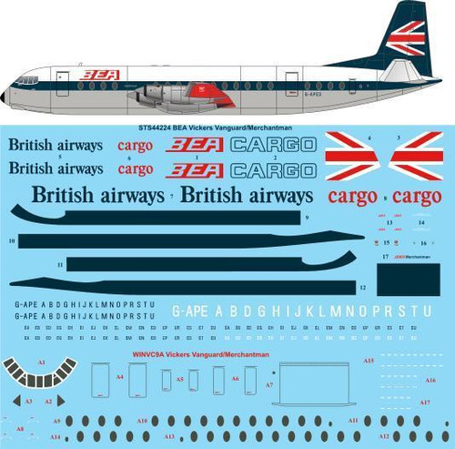 1/144 Scale Decal BEA Vickers Vanguard/Merchantman