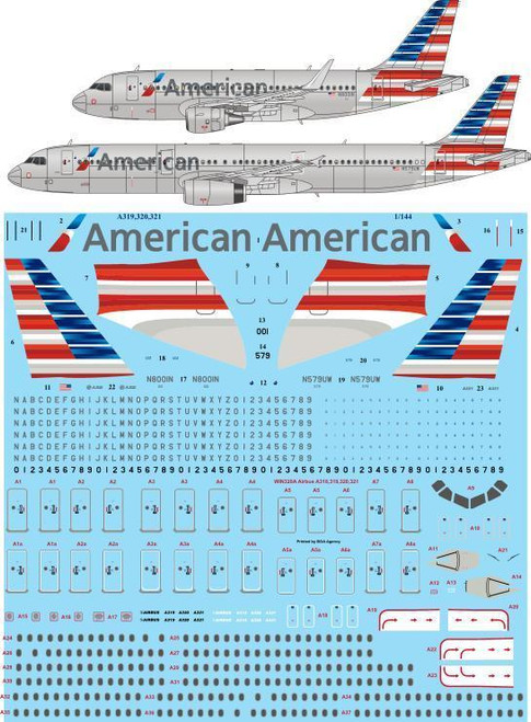 1/144 Scale Decal American Airbus A319 & A321