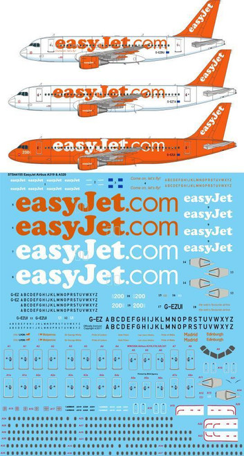 1/144 Scale Decal EasyJet Airbus A319 & A320