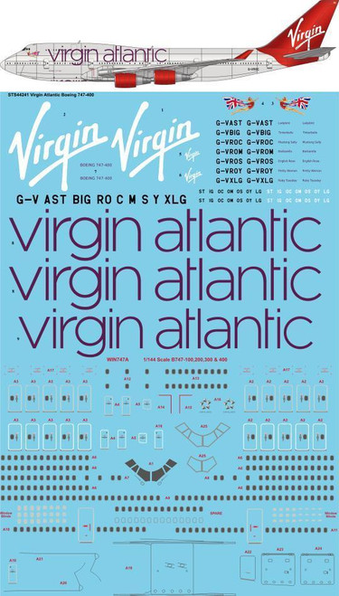 "1/144 Scale Decal Virgin Atlantic ""2010"" Boeing 747-400"