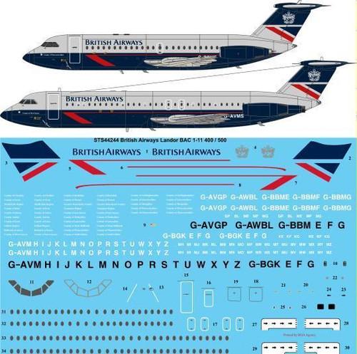 1/144 Scale Decal British Airways Landor BAC 1-11 400 / 500