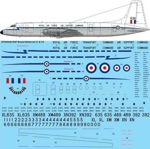 1/144 Scale Decal RAF Bristol Britannia C1 & C2