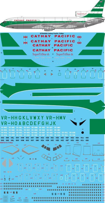 1/144 Scale Decal Cathay Pacific L1011 TriStar