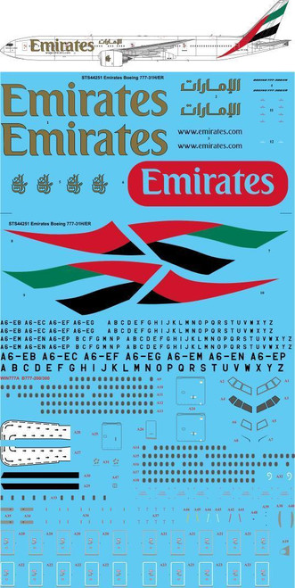 1/144 Scale Decal Emirates Boeing 777-31H/ER