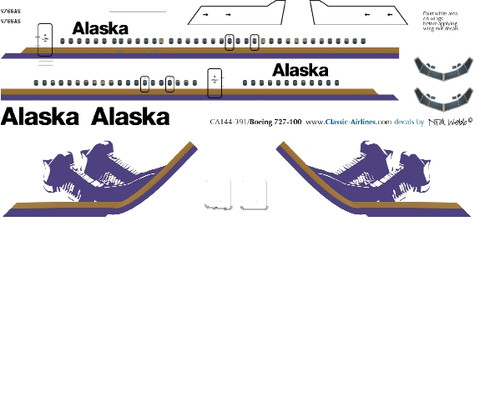 1/144 Scale Decal Alaska Air 727-100 Domes
