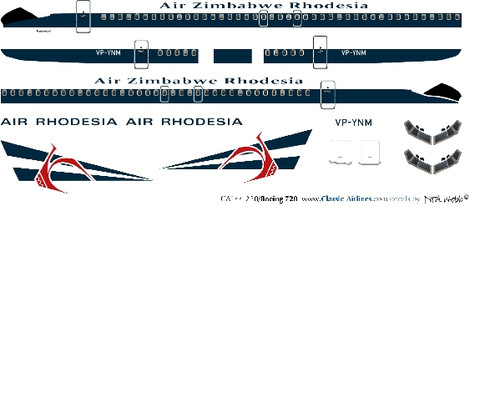 1/144 Scale Decal Air Zimbabwe Rhodesia B-720
