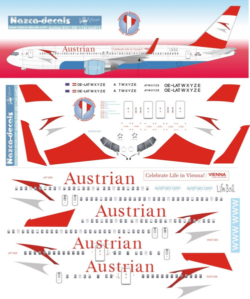 1/144 Scale Decal Austrian B767-300 with special Titles