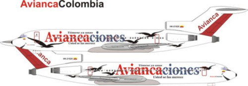 """1/144 Scale Decal Avianca 727-200 """"Aviancaciones titles"""""""