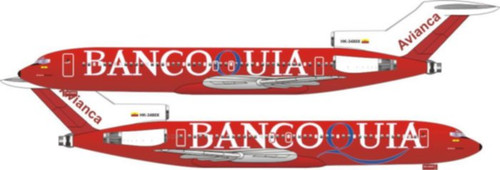 "1/144 Scale Decal Avianca 727-200 ""Bancoquia titles"""