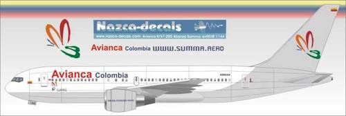 "1/144 Scale Decal Avianca B767-200 / 300  ""Alianza Summa"""