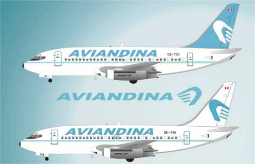 1/144 Scale Decal Aviandina 737-200 Two Liveries