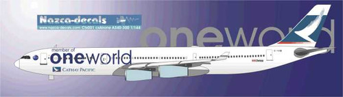 1/144 Scale Decal Cathay Pacific A340-300 in Oneworld celebration scheme