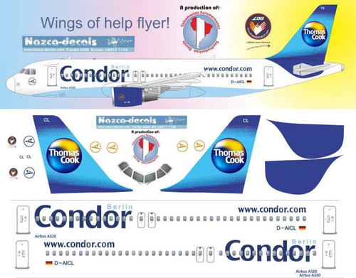 1/144 Scale Decal Condor A-320 Classic Scheme