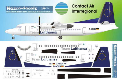 1/144 Scale Decal Contact Air / Lufthansa F-50