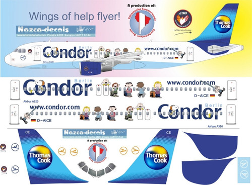 1/144 Scale Decal Condor  A-320 Wings of Help with peanuts Stickers