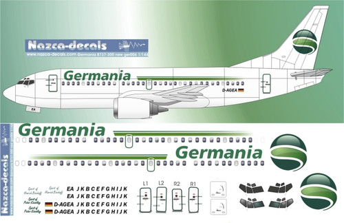 1/144 Scale Decal Germania B737-300 new scheme