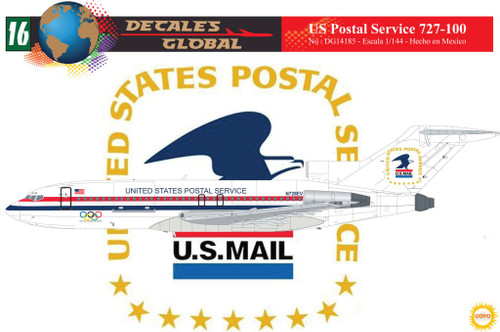 1/144 Scale Decal US Postal Service 727-100