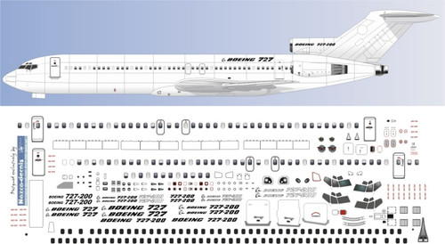 1/72 Scale Decal Detail Sheet 727-200
