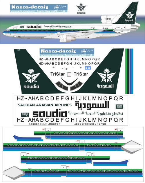 1/100 Scale Decal Saudia L-1011