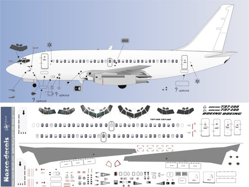 1/144 Scale Decal Detail Sheet 737-200
