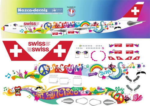 1/144 Scale Decal SWISS A-340 San Francisco Livery