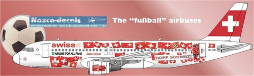 1/144 Scale Decal SWISS A-320 Special Fussball Livery