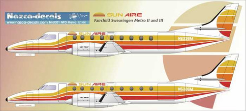1/144 Scale Decal Sun Aire Metros