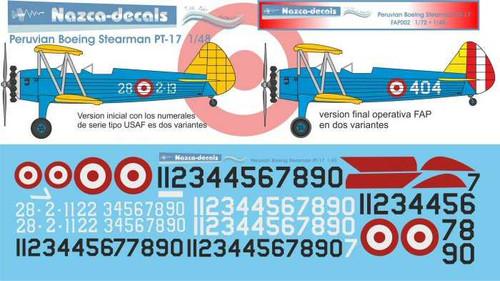 1/72 Scale Decal FAP Fuerza Aérea del Perú Boeing Stearman