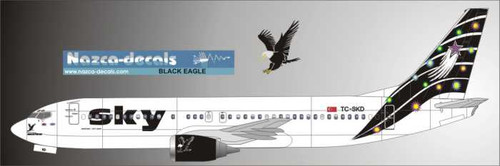 1/144 Scale Decal Sky 737-400 BLACK